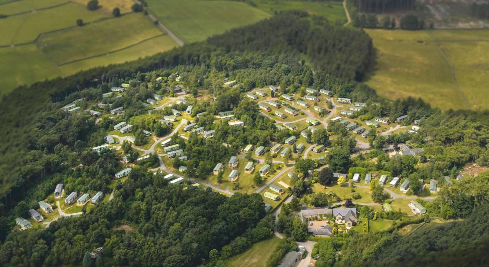 Warren Forest Luxury holiday caravans Aerial Photo